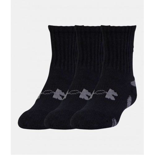 UNDER ARMOUR Heat Gear Trainer Crew Socks 3-Pack Black, ponožky